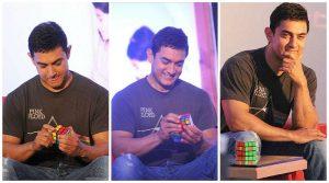 Аамир Кхан собирает кубик Рубика